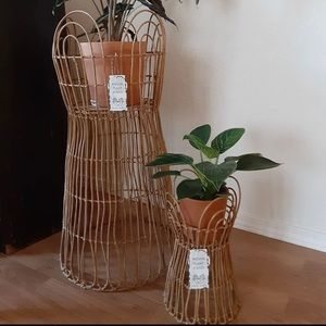 Rattan Inspired Plant Stand SET OF THREE